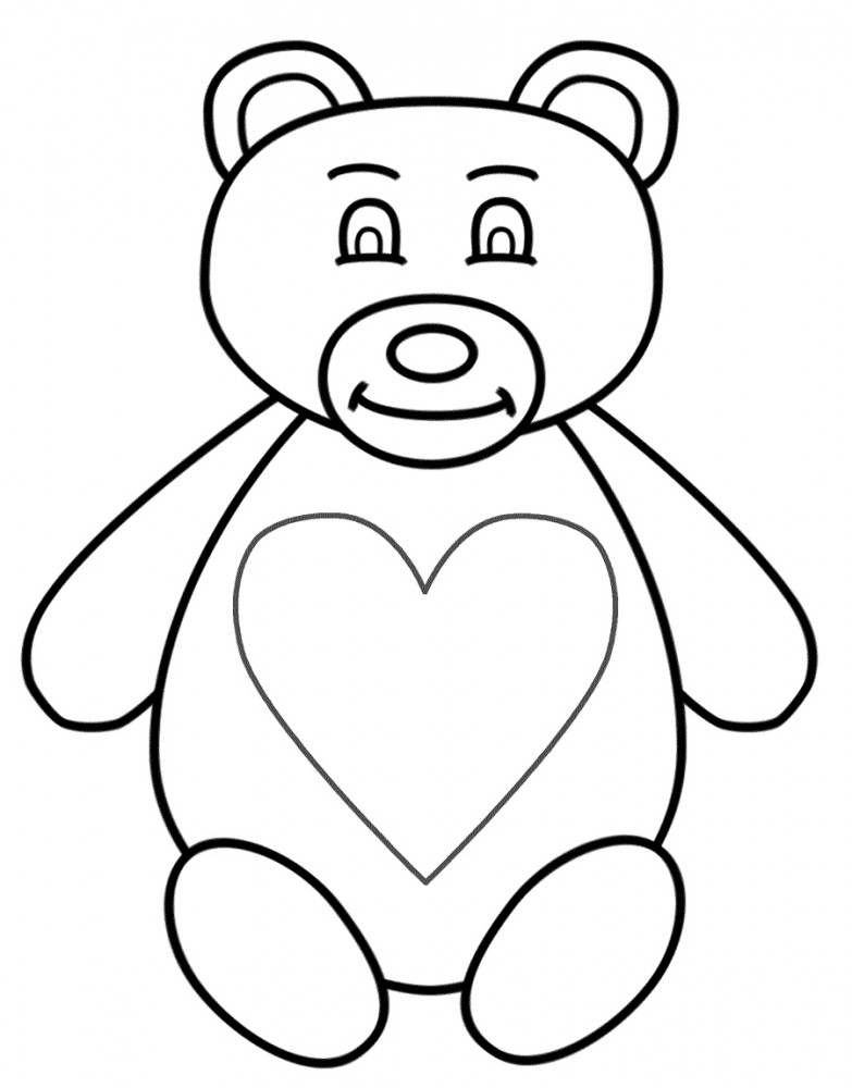 Bears with flowers coloring pages
